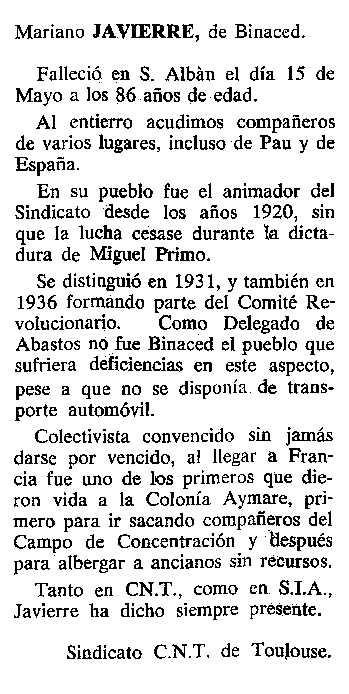 """Necrològica de Mariano Javierre Citoler apareguda en el periòdic tolosà """"Cenit"""" del 3 de setembre de 1985"""