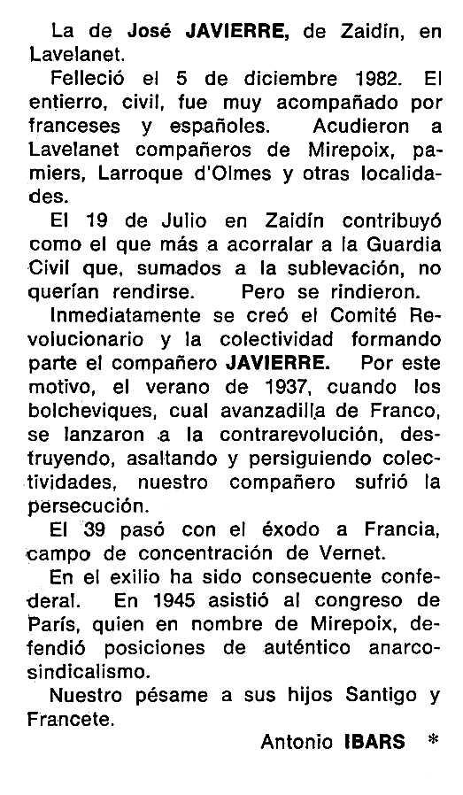 """Necrològica de José Javierre Rivas apareguda en el periòdic tolosà """"Cenit"""" del 19 d'abril de 1983"""