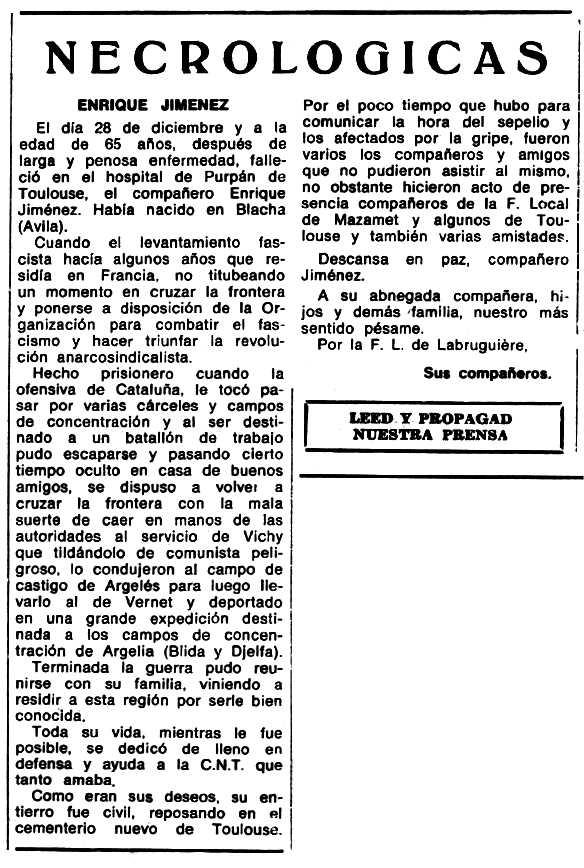 """Necrològica d'Enrique Jiménez Jiménez apareguda en el periòdic tolosà """"Espoir"""" de l'1 de març de 1970"""