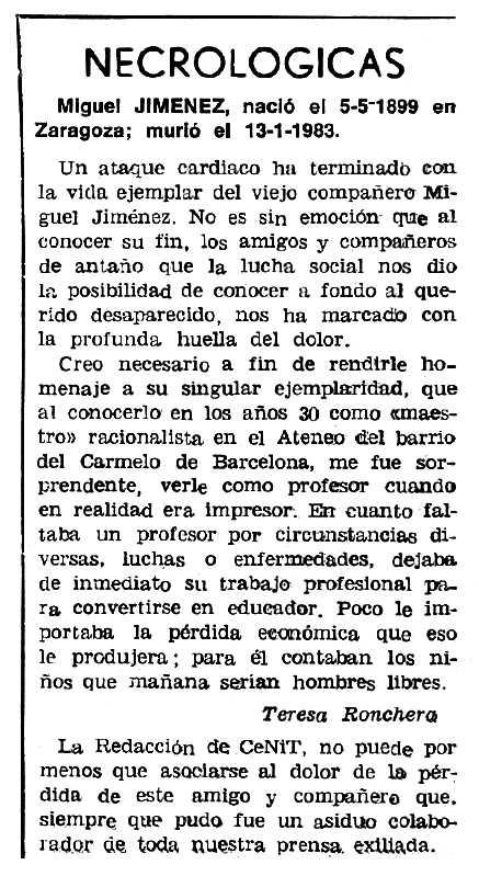 "Necrològica de Miguel Jiménez Herrero apareguda en el periòdic tolosà ""Cenit"" del 15 de febrer de 1983"