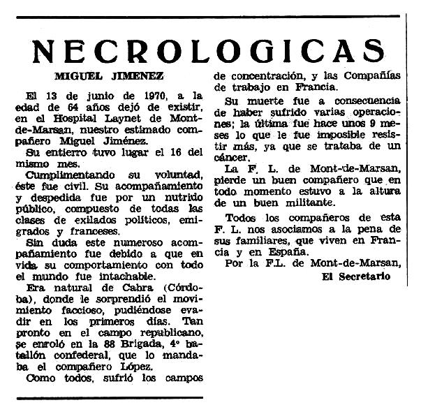 """Necrològica de Miguel Jiménez Sánchez apareguda en el periòdic tolosà """"Espoir"""" del 8 de novembre de 1970"""