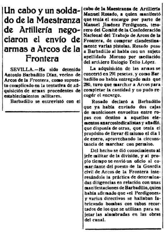 """Notícia de la implicació de Manuel Jiménez Perdigones de la insurrecció de gener de 1933 apareguda en el periòdic de Toledo """"El Castellano"""" del 19 de gener de 1933"""