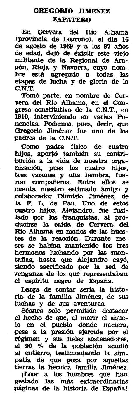 """Necrològica de Gregorio Jiménez Zapatero apareguda en el periòdic tolosà """"Espoir"""" de l'1 de febrer de 1970"""
