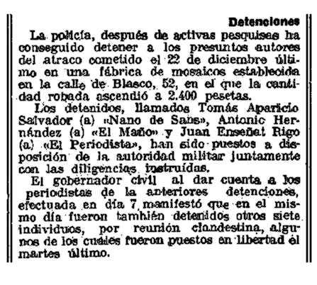 """Notícia de la detenció de Joan Enseñat Rigo a pareguda en el diari barceloní """"La Vanguardia"""" del 10 de gener de 1924"""