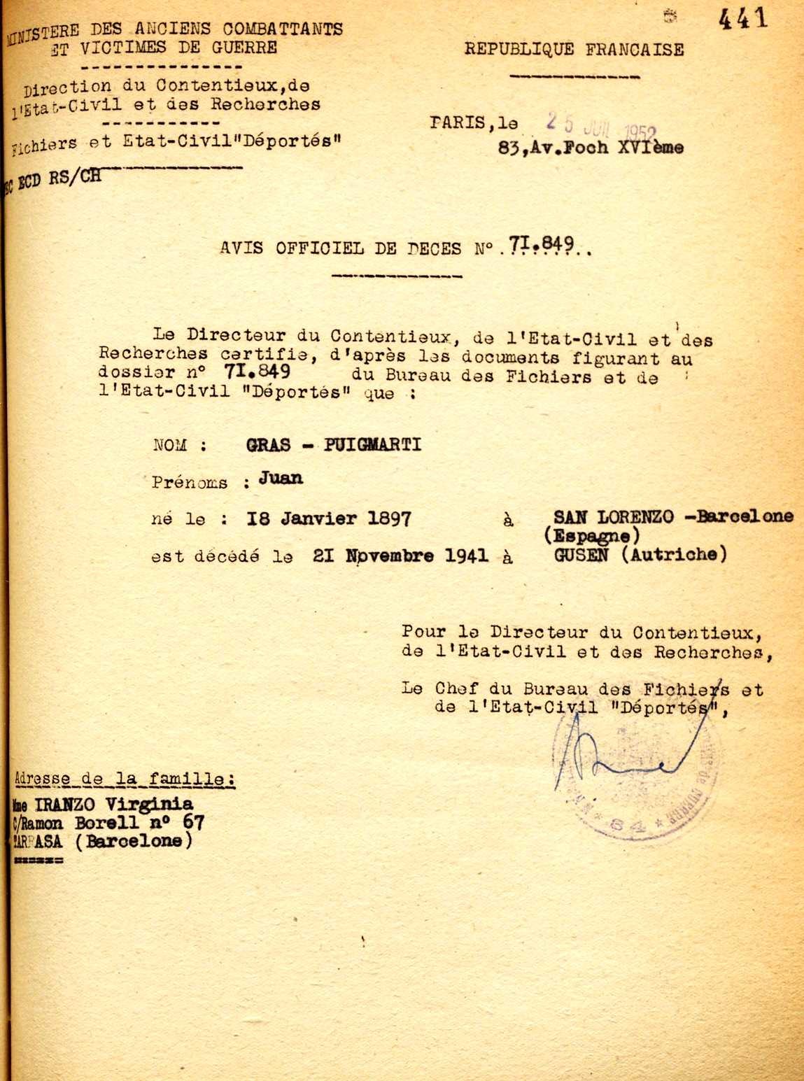 Fitxa de Joan Gras Puigmartí del registre de deportats