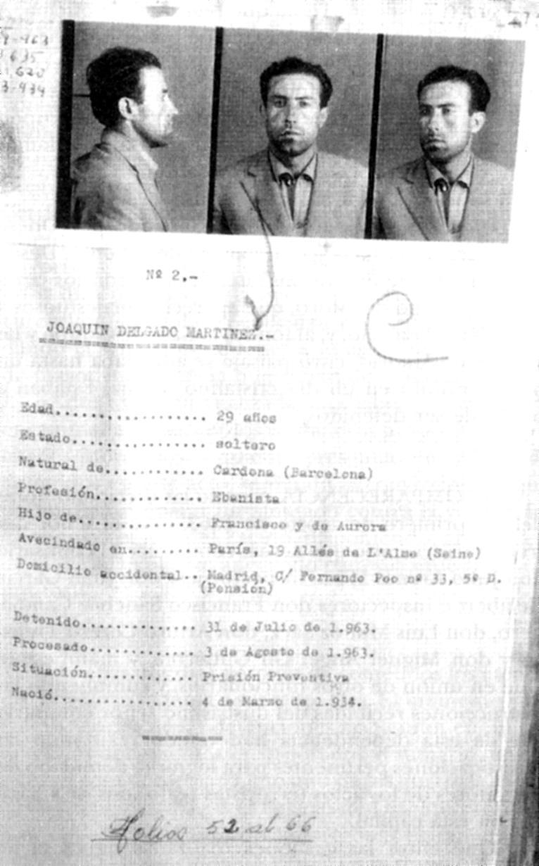 Fitxa policíaca de Joaquín Delgado incorporada al sumari