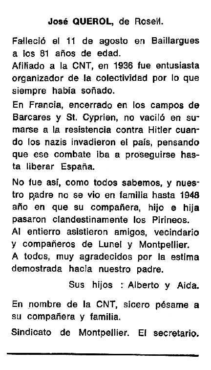 """Necrològica de Josep Querol Gardona apareguda en el periòdic tolosà """"Cenit"""" del 7 d'octubre de 1986"""