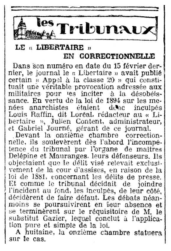"""Notícia del judici de Gabriel Journé publicat en el diari parisenc """"Le Radical"""" de l'1 de juny de 1920"""