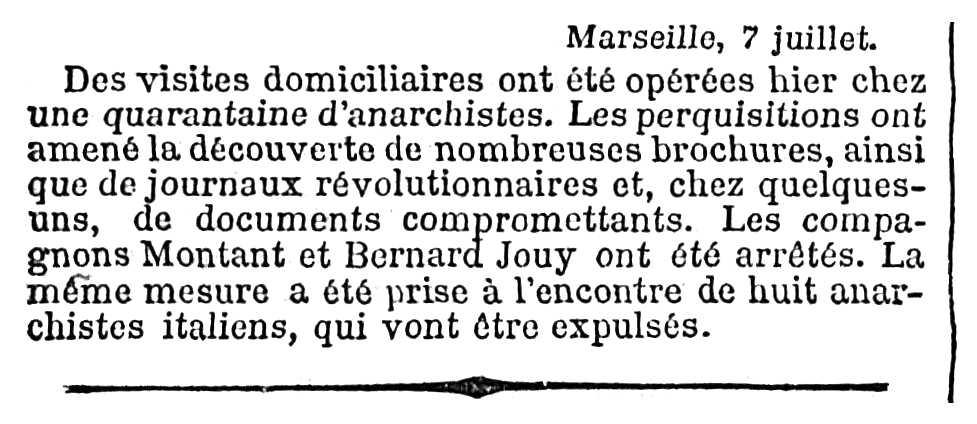 """Notícia de la detenció de Bernard Jouy apareguda en el diari parisenc """"Le Temps"""" del 8 de juliol de 1894"""