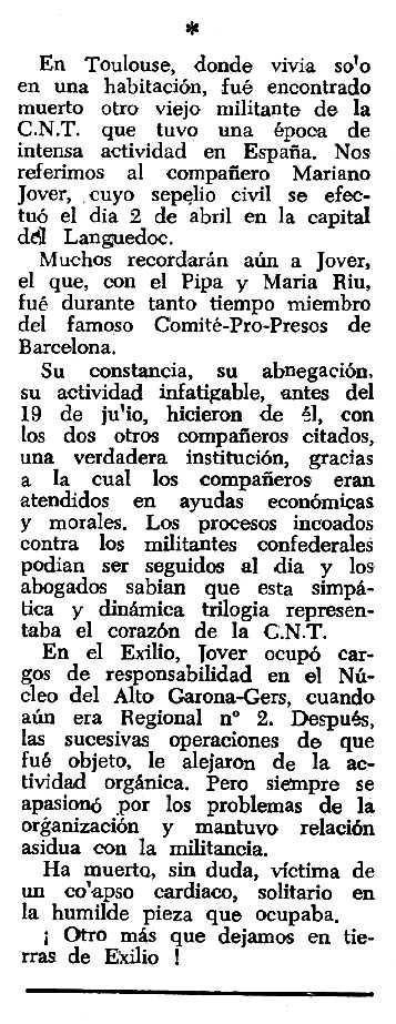 """Necrològica de Mariano Jover Ferrando apareguda en el periòdic tolosà """"Espoir"""" del 12 d'abril de 1964"""