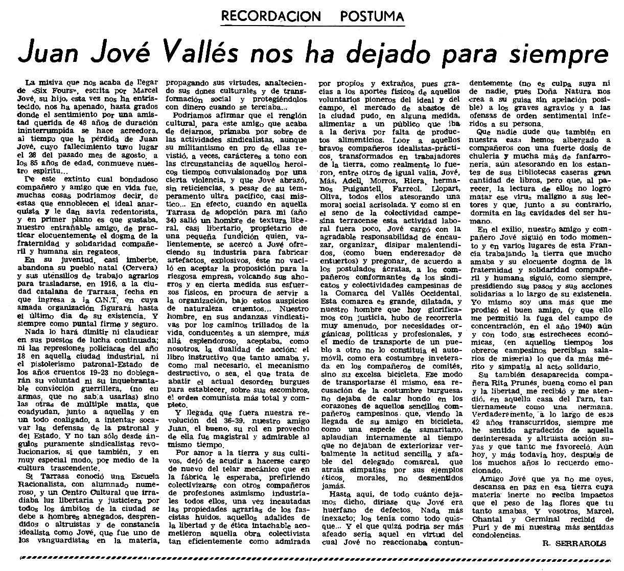 """Necrològica de Joan Jové Vallès apareguda en el periòdic parisenc """"Le Combat Syndicaliste"""" del 23 de setembre de 1982"""