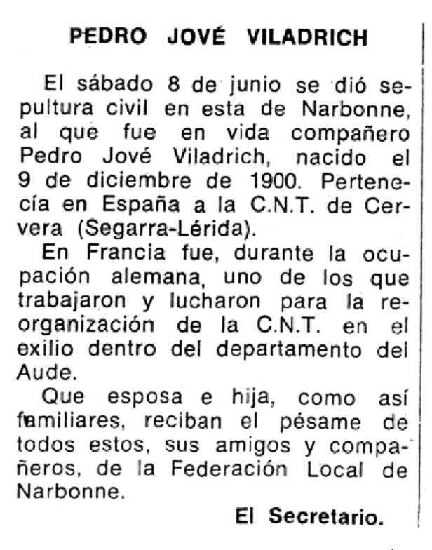 """Necrològica de Pere Jové Viladrich apareguda en el periòdic tolosà """"Espoir"""" del 3 de novembre de 1974"""
