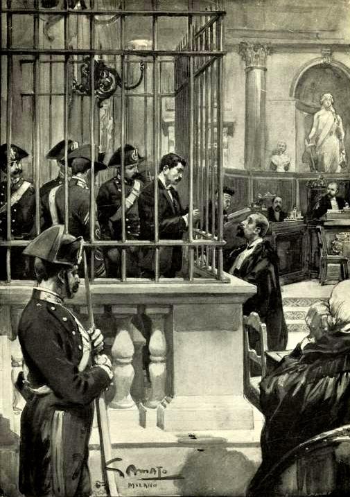 Bresci parla amb Merlino durant el judici en un dibuix de Samato