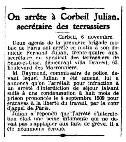 """Notícia de la detenció de Fernand Julian apareguda en el diari parisenc """"Le Petit Parisien"""" del 7 de novembre de 1911"""
