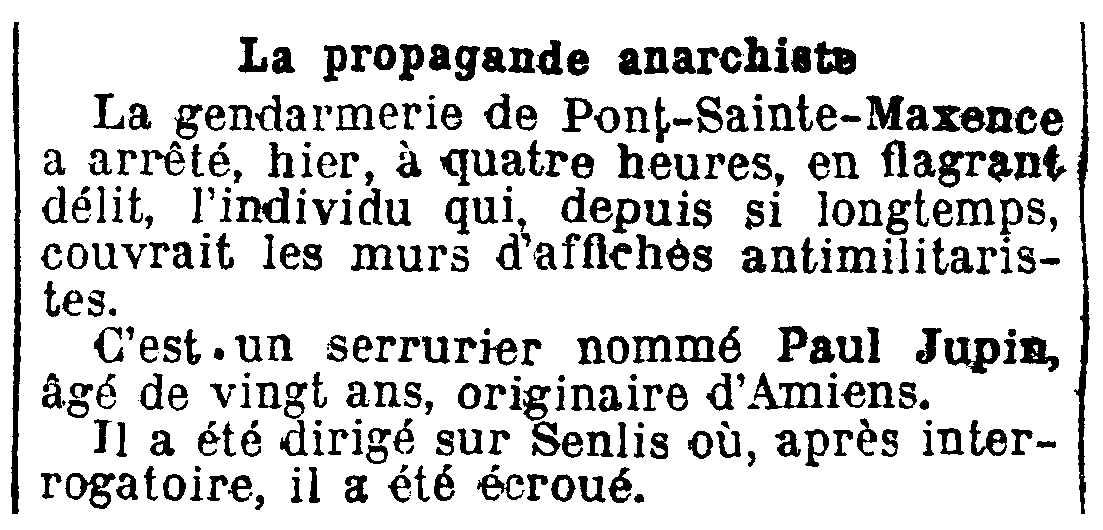 """Notícia de la detenció de Paul Jupin apareguda en el diari parisenc """"Le Journal"""" del 8 de desembre de 1909"""