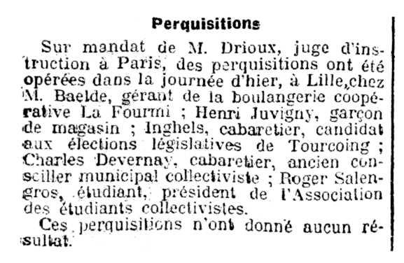 """Notícia de l'escorcoll del domicili d'Henri Juvigny apareguda en el diari parisenc """"Le Radical"""" del 21 d'octubre de 1910"""