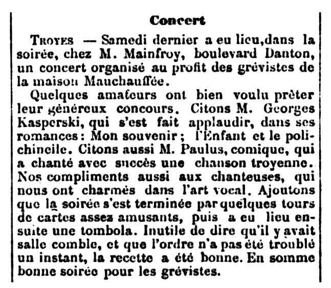 """Notícia de l'actuació de Georges Kasperki apareguda en el diari de Troyes """"Le Petit Troyen"""" del 3 d'octubre de 1888"""