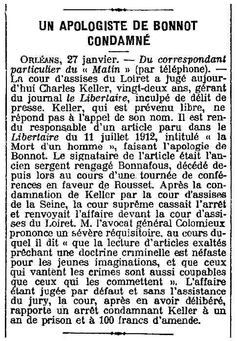 """Notícia de la condemna de Charles Keller apareguda en el diari parisenc """"Le Matin"""" del 28 de gener de 1913"""