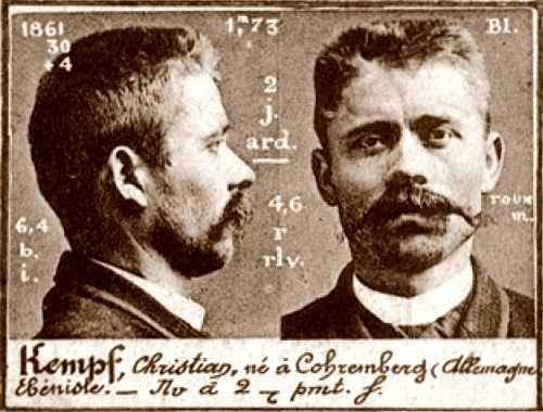 Foto policíaca de Christian Kempf (ca. 1894)