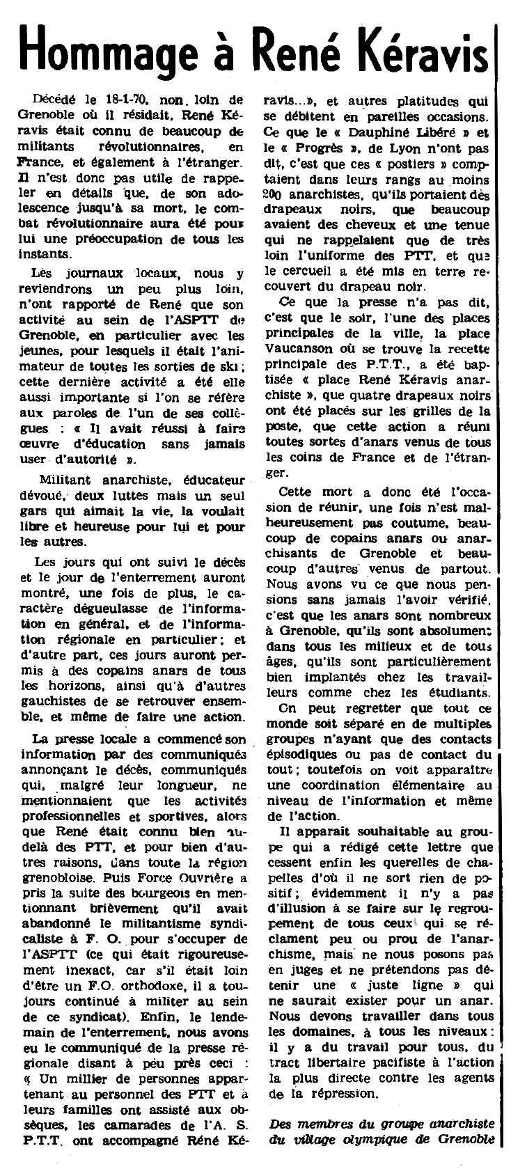 """Necrològica de René Keravis apareguda en el periòdic parisenc """"Le Combat Syndicaliste"""" del 5 de març de 1970"""
