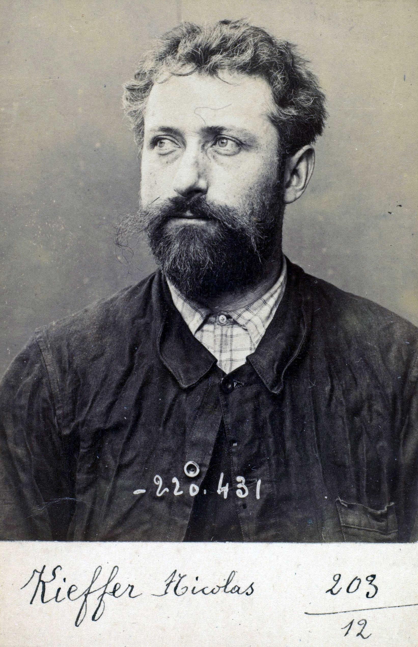 Foto policíaca de Nicolas Kieffer (2 de juliol de 1894)