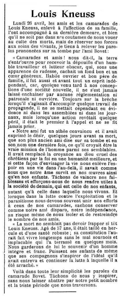 """Necrològica de Louis Kneuss apareguda en el periòdic ginebrí """"Le Réveil"""" del 15 de maig de 1915"""