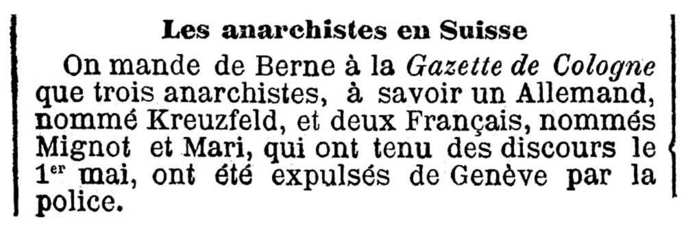 """Notícia de l'expulsió de Jean-Joachim Kreuzfeld apareguda en el periòdic parisenc """"La Presse"""" del 9 de maig de 1891"""