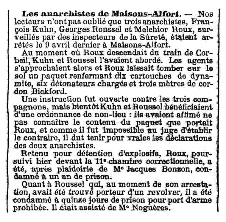 """Notícia sobre el procés de François Kuhn apareguda en el periòdic parisenc """"Le Temps"""" del 6 de maig de 1908"""