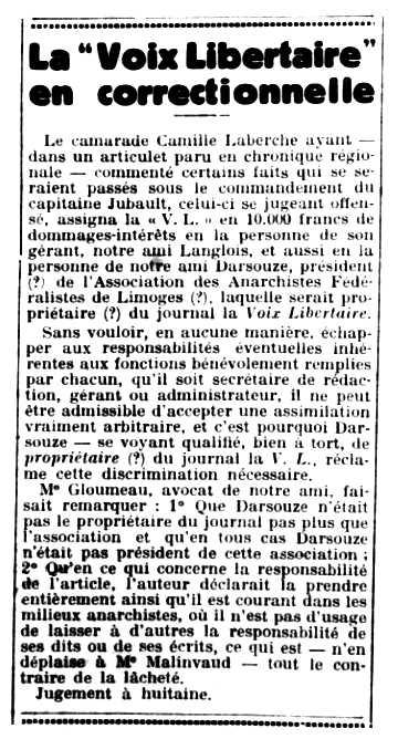 """Notícia sobre Camille Laberche sobre la seva gestió a """"La Voix Libertaire"""" publicada en el periòdic parisenc """"Le Libertaire"""" del 16 d'octubre de 1931"""