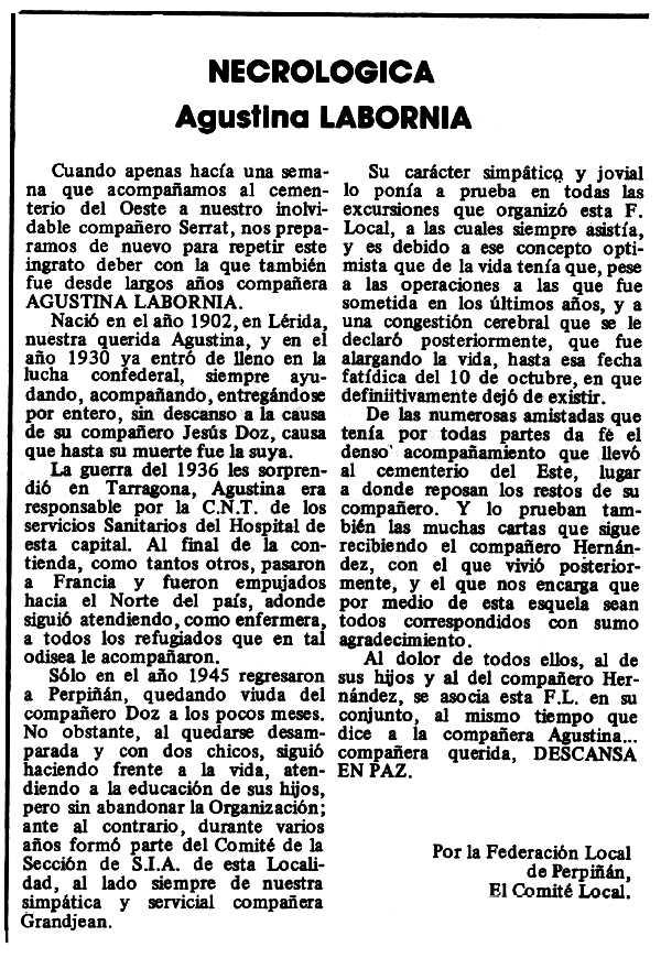 "Necrològica d'Agustina Labèrnia Chimeno apareguda en el periòdic tolosà ""Espoir"" del 21 de novembre de 1980"