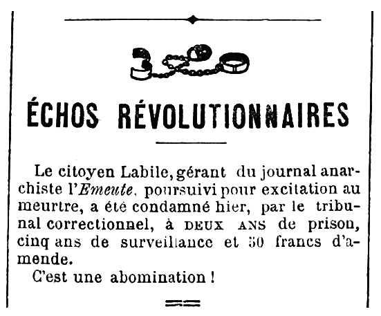 """Notícia de la condemna de Pierre Labille apareguda en el diari parisenc """"Le Cri du Peuple"""" del 12 de gener de 1884"""