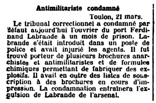 """Notícia de la condemna de Ferdinand Labrande apareguda en el setmanari parisenc """"Le Signal"""" del 22 de març de 1908"""