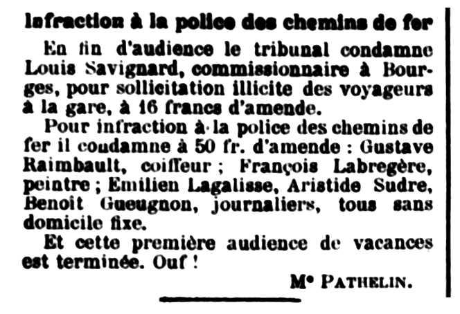 """Notícia de la multa de François Labregère apareguda en el diari de Vierzon """"La Dépêche de Berry"""" del 14 d'agost de 1910"""