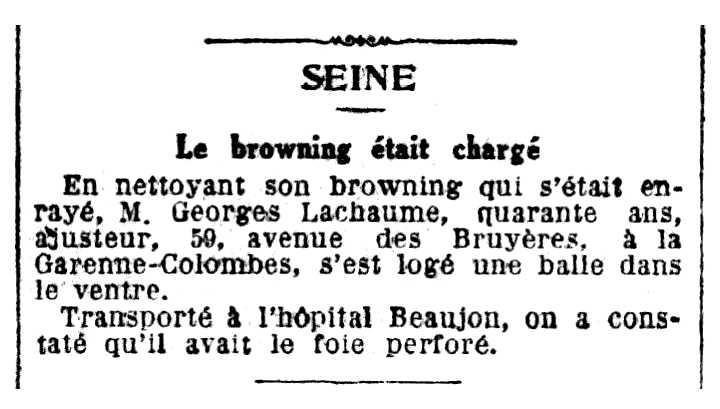 """Notícia de l'accident de Georges Lachaume publicada en el periòdic """"Le Petit Parisien"""" del 10 de febrer de 1925"""