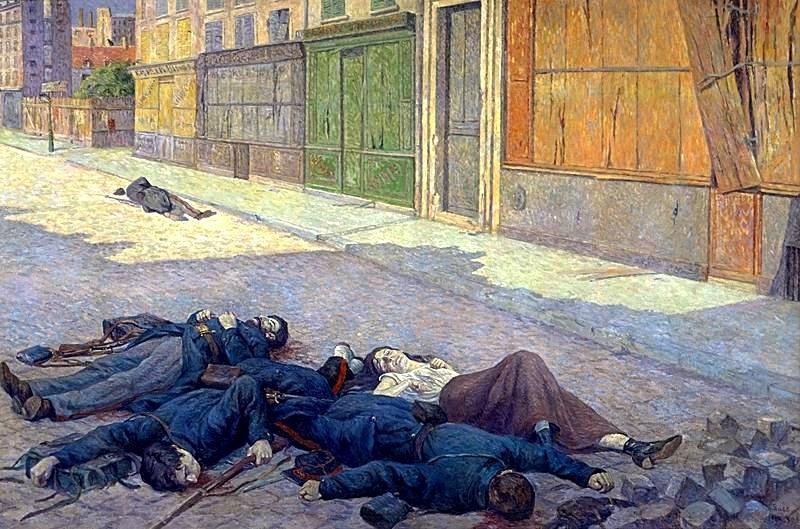 """Maximilien Luce: """"Une rue de Paris en mai 1871 (La Commune)"""" (1903) [Musée d'Orsay, París]"""
