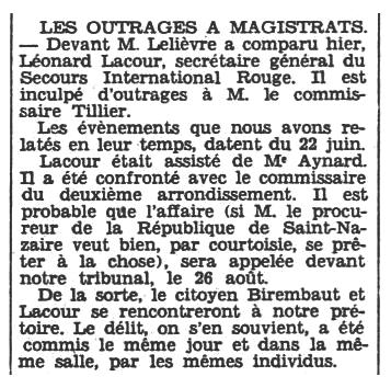 """Notícia del judici de Léonard Lacour apareguda en el diari de Nantes """"L'Ouest-Éclair"""" del 29 de juliol de 1932"""