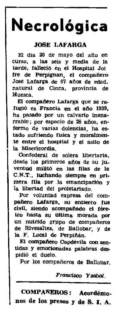 "Necrològica de José Lafarga Miró apareguda en el periòdic parisenc ""Le Combat Syndicaliste"" de l'11 de juny de 1970"