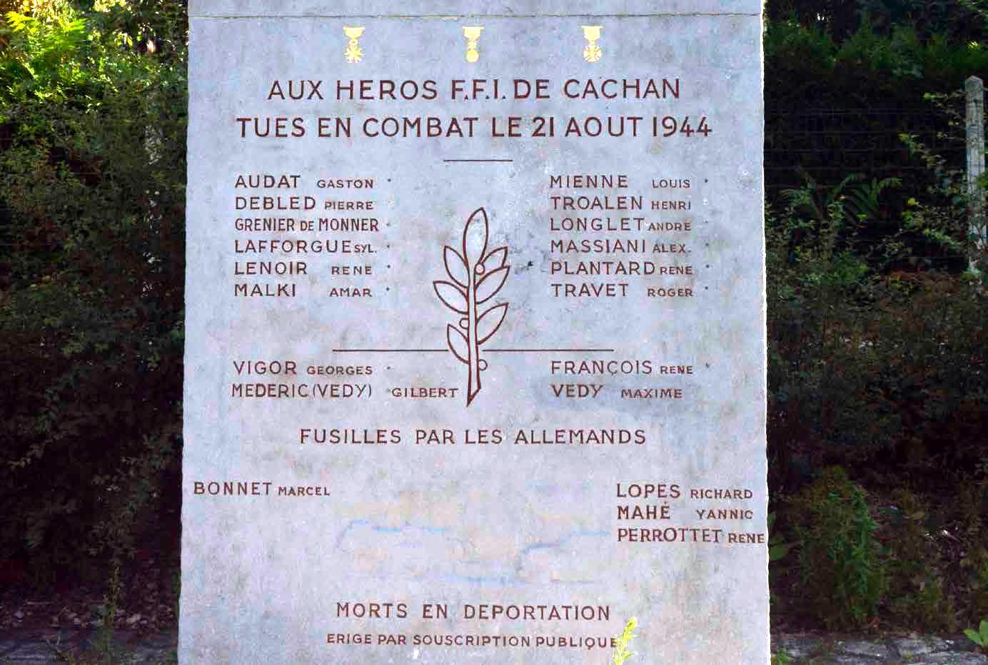 Detall del monument erigit en 1945 en memòria dels caiguts de les FFI de Cachan, entre ells Sylvain Lafforgue