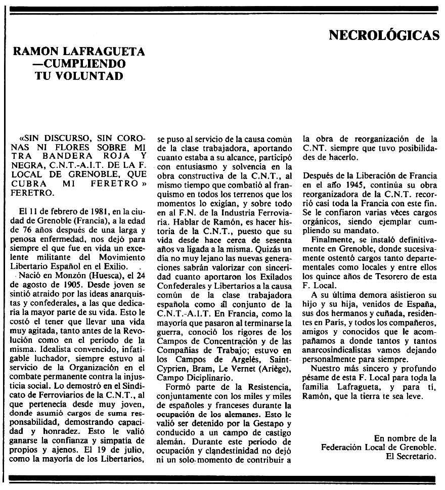 """Necrològica de Ramón Lafragueta Solano apareguda en el periòdic tolosà """"Espoir"""" del 15 de març de 1981"""