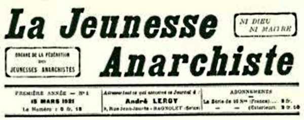 """Capçalera de """"La Jeunesse Anarchiste"""""""