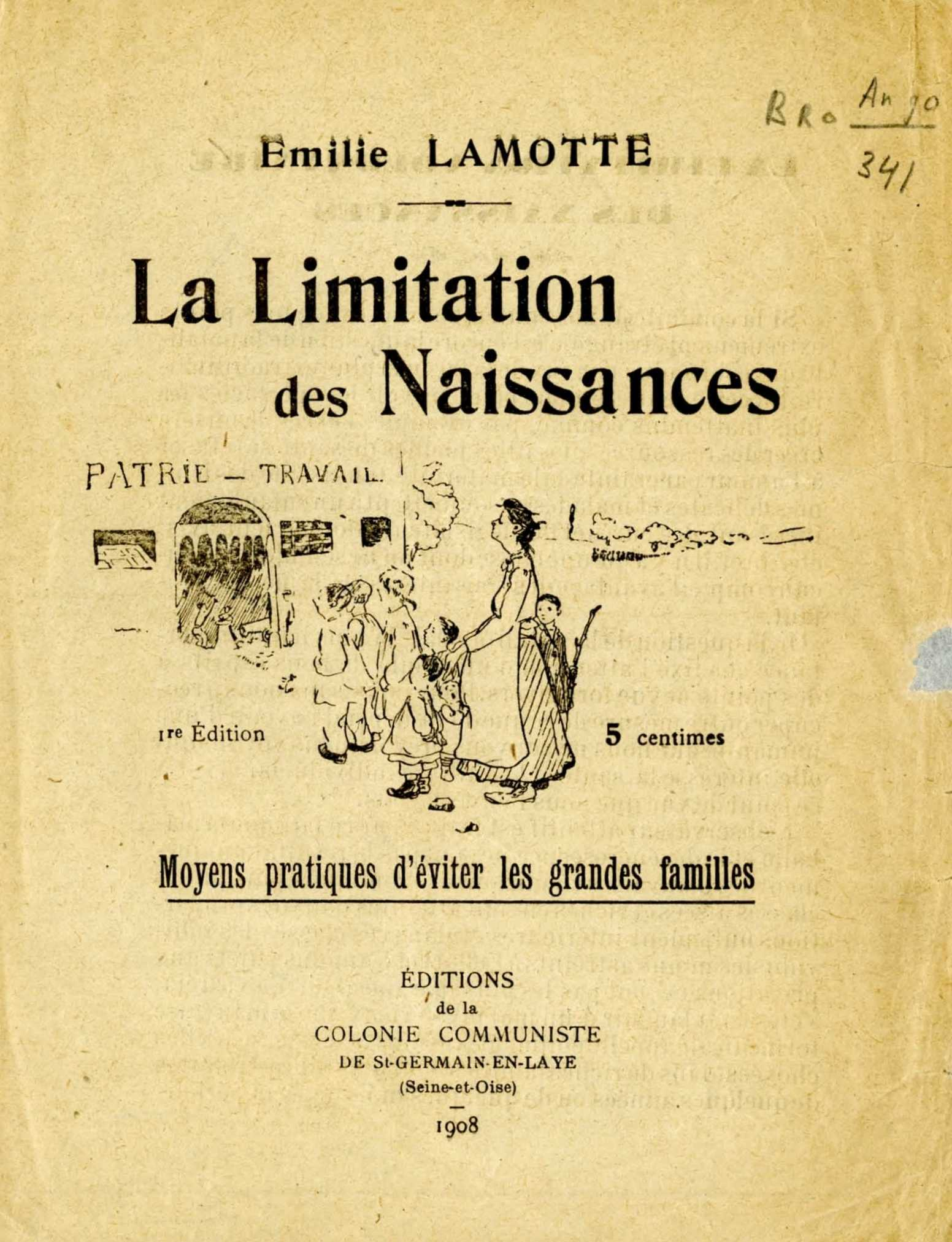 Folleto de Émilie Lamotte conservado en el International Institute of Social History de Amsterdam