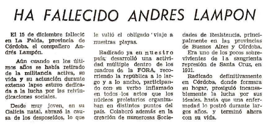 """Necrològica d'Andrés Lampón apareguda en el periòdic de Buenos Aires """"Acción Libertaria"""" del maig de 1960"""