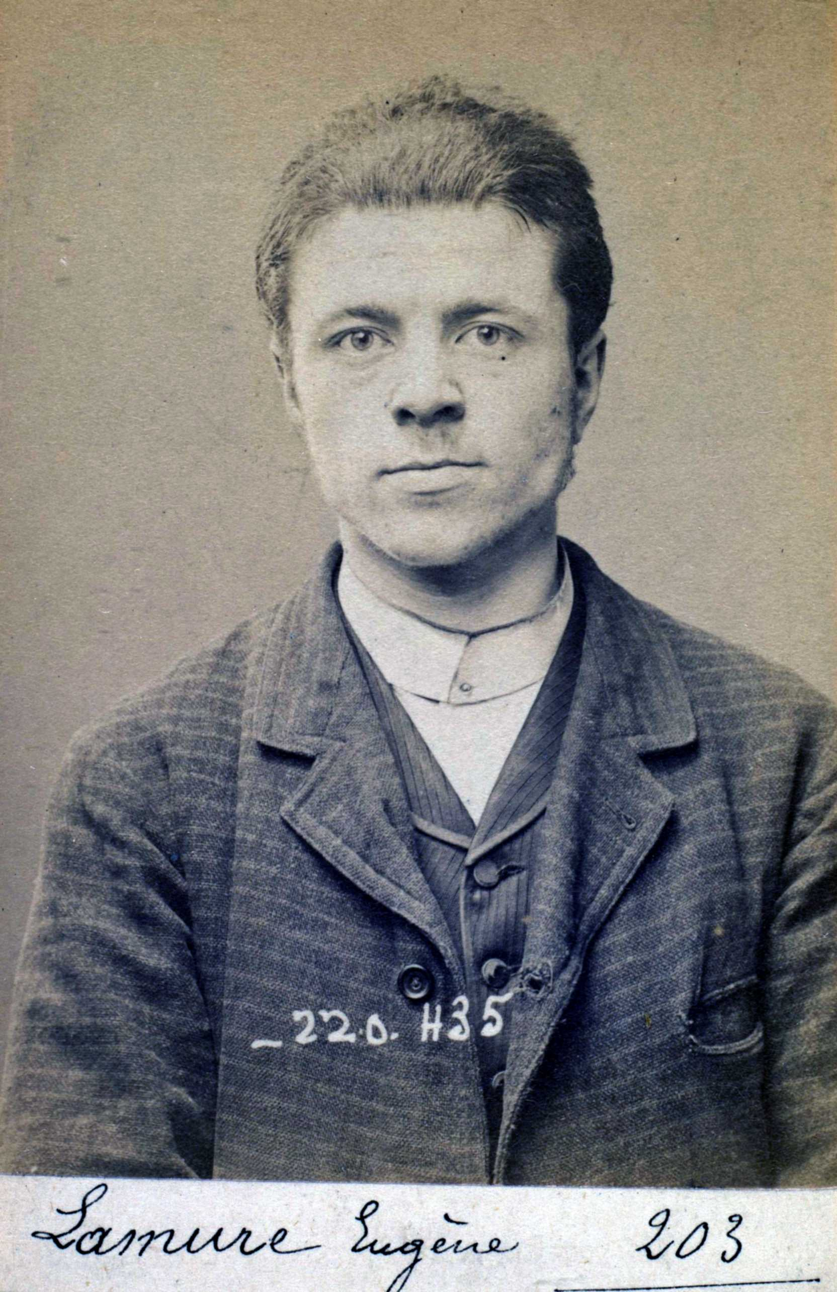 Foto policíaca d'Eugène Lamure (2 de juliol de 1894)