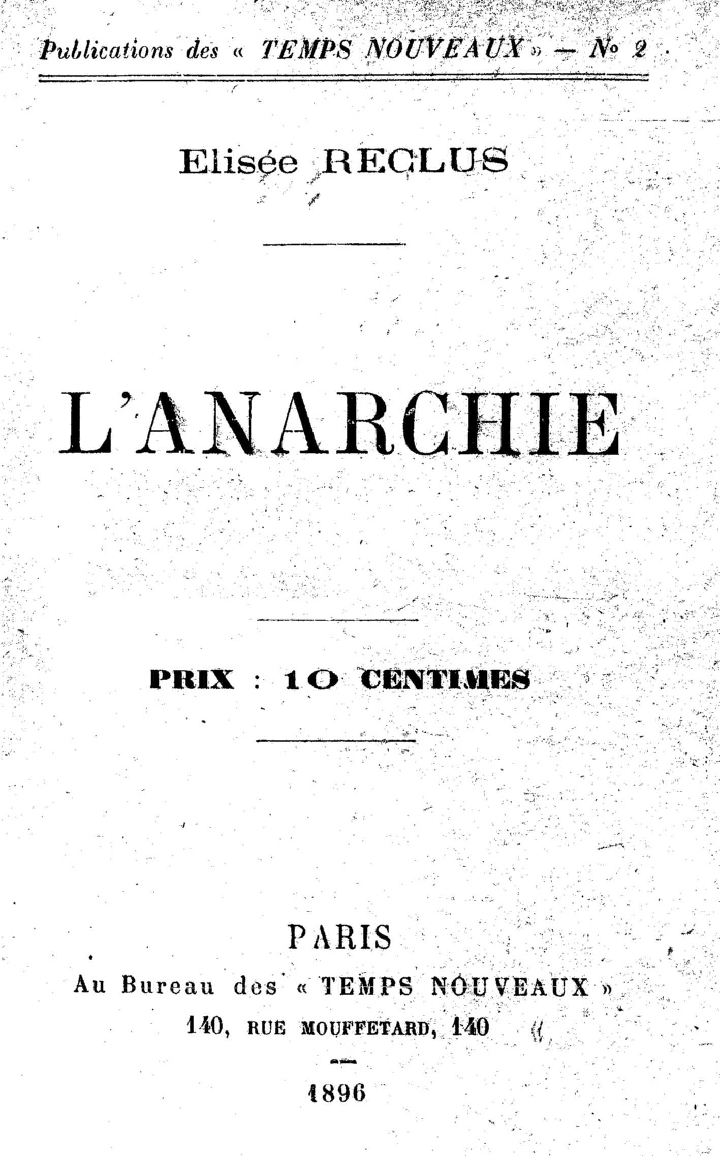 """Portada de la primera edició en fullet de """"L'Anarchie"""" d'Élisée Reclus"""