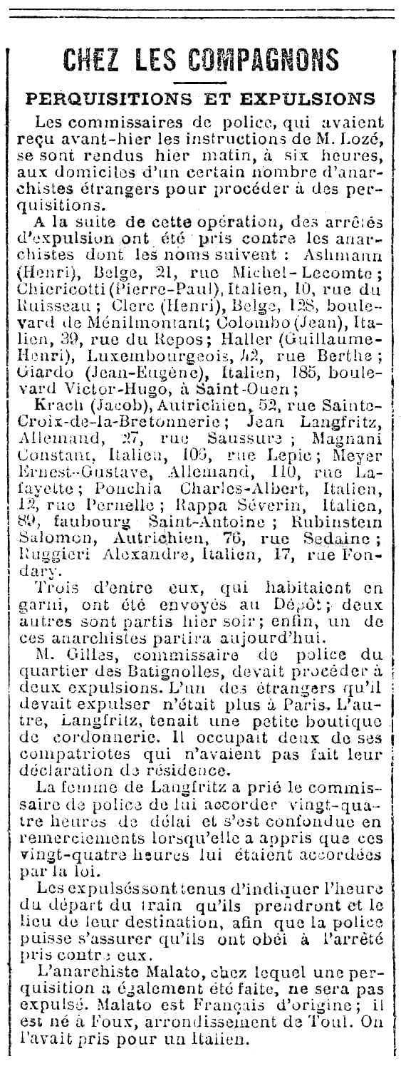 """Notícia de l'expulsió de Johann Langfritz publicada en el periòdic parisenc """"Le XIXe Siègle"""" de l'1 d'abril de 1892"""