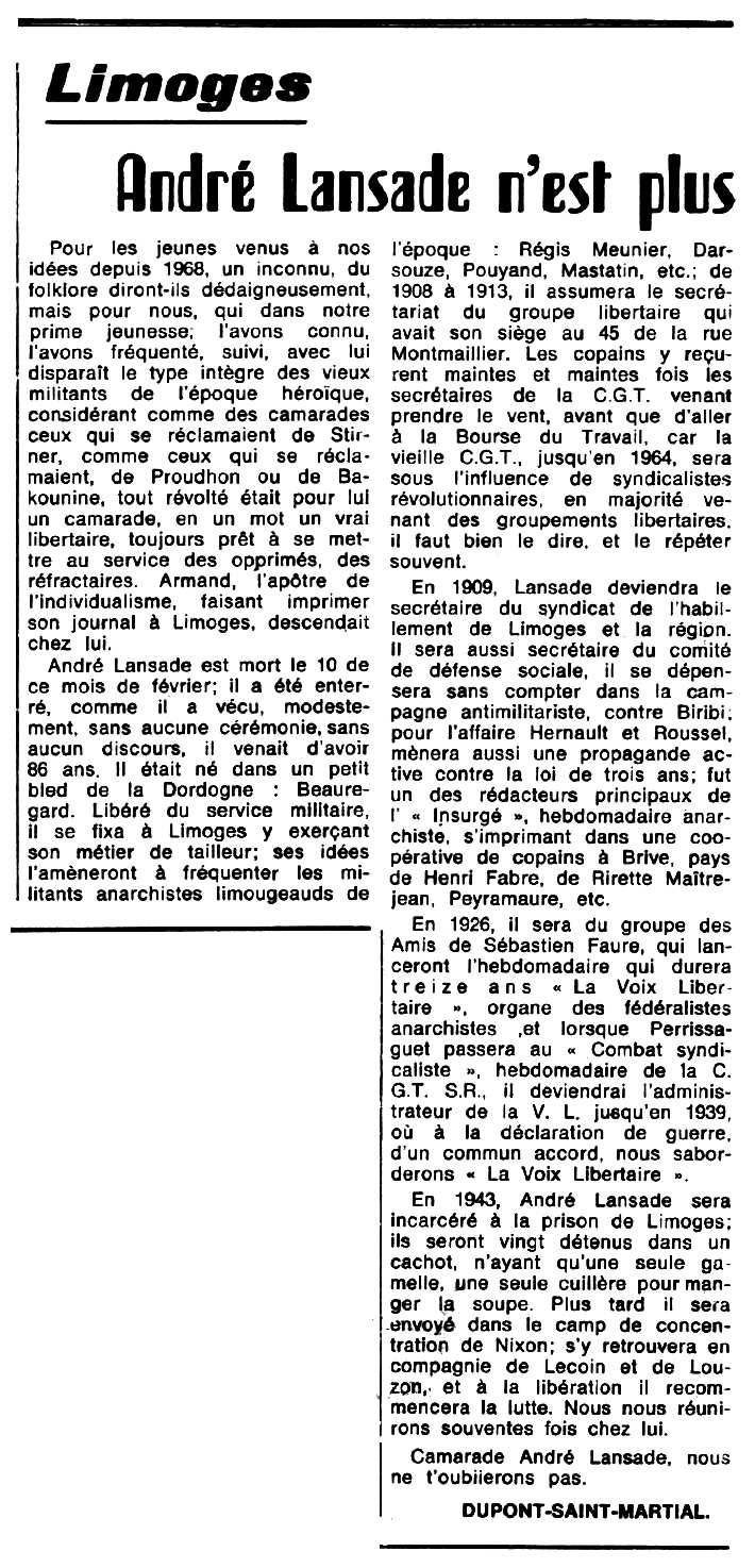 "Necrològica d'André Lansade apareguda en el periòdic tolosà ""Espoir"" del 8 de març de 1970"