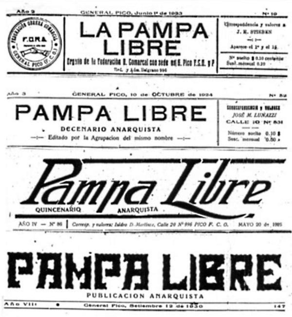 """Diverses capçaleres de """"La Pampa Libre"""""""