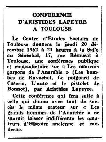 """Convocatòria de la conferència apareguda en el periòdic tolosà """"Espoir"""" del 2 de desembre de 1962"""