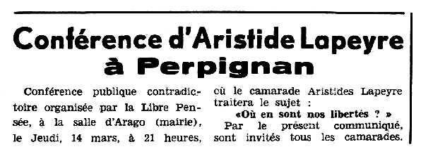 """Propaganda de la conferència de Lapeyre apareguda en el periòdic tolosà """"Espoir"""" del 10 de març de 1963"""