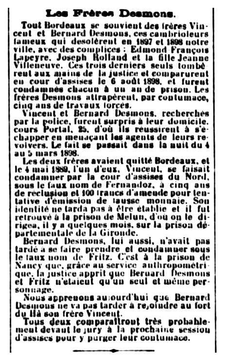 """Notícia del processament d'Edmond Lapeyre apareguda en el diari bordelès """"La Gironde"""" del 7 de març de 1900"""